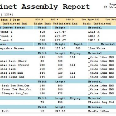 Report Cabinet Assembly by Material V9/10
