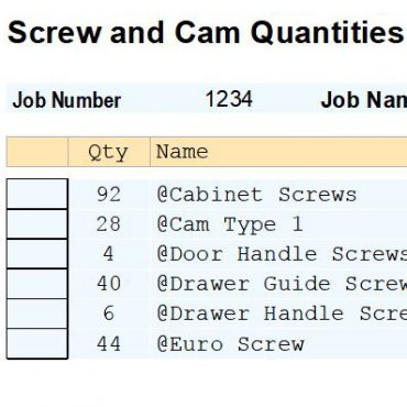 Report Screw and Cam Count V9/V11