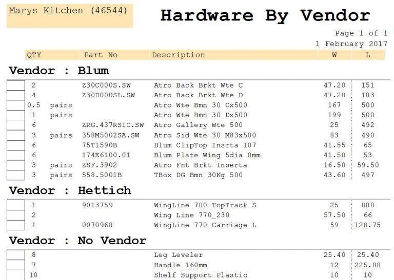 Report Hardware Items by Vendor V9/V11/V12