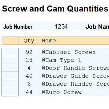 Report Screw and Cam Count V9/V11